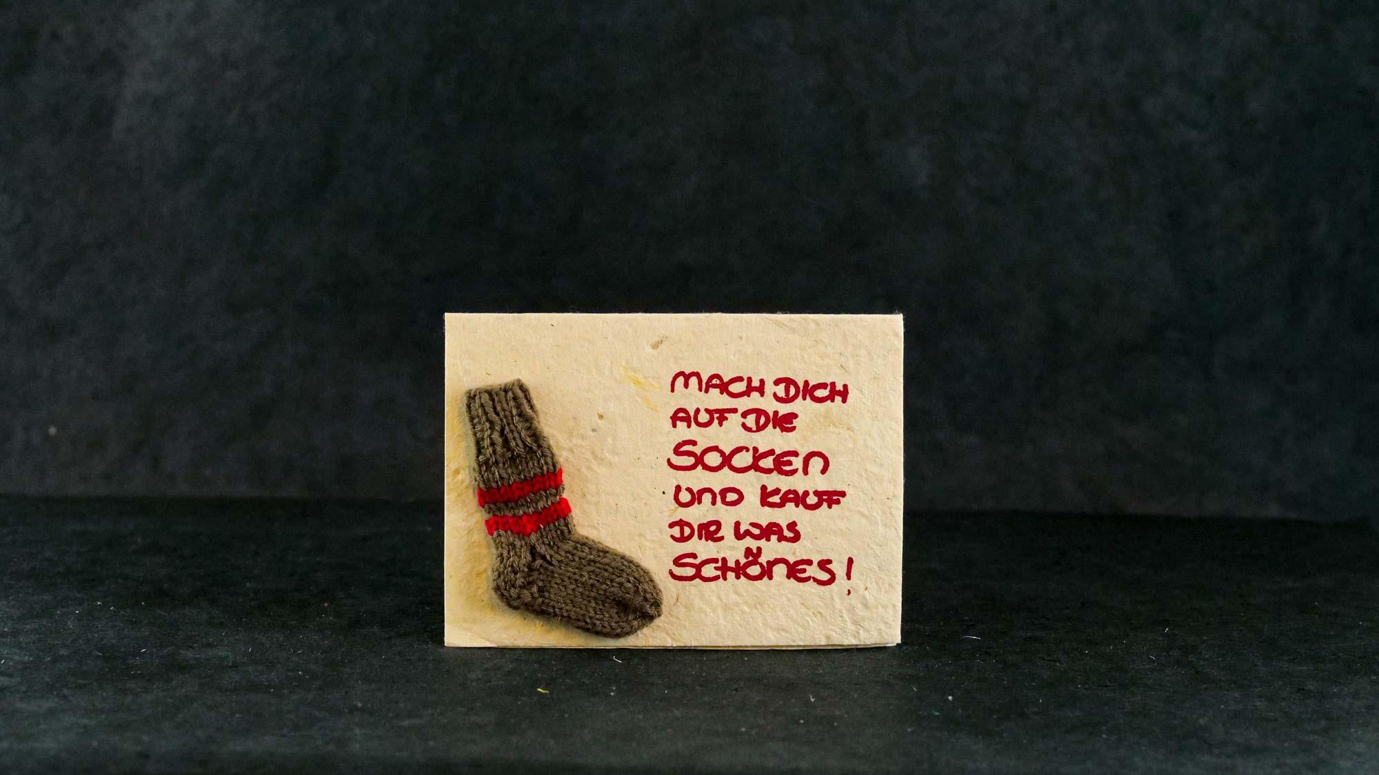Briefkarte 'Socke' Braun