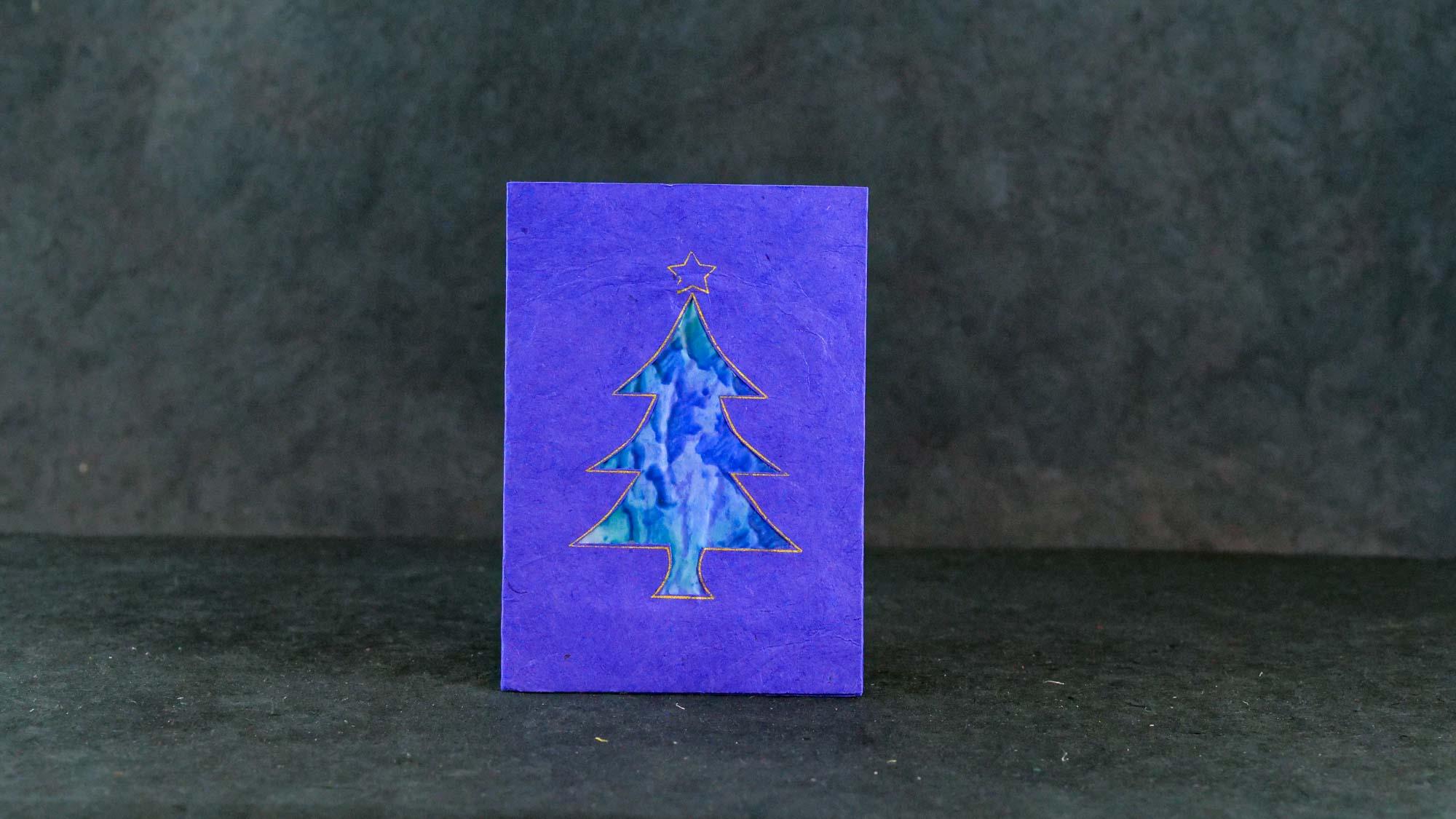 Briefkarte Batik 'Tanne' Blau