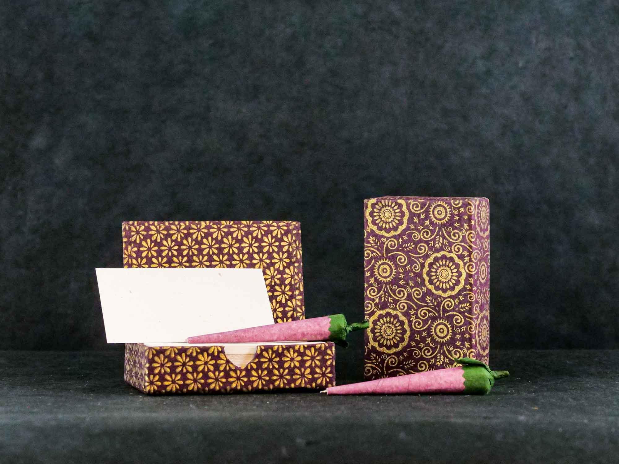 Zettelbox mit Stift Bordeaux