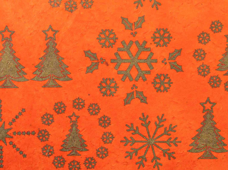 Geschenkpapier 'Sterne&Tanne' Orange