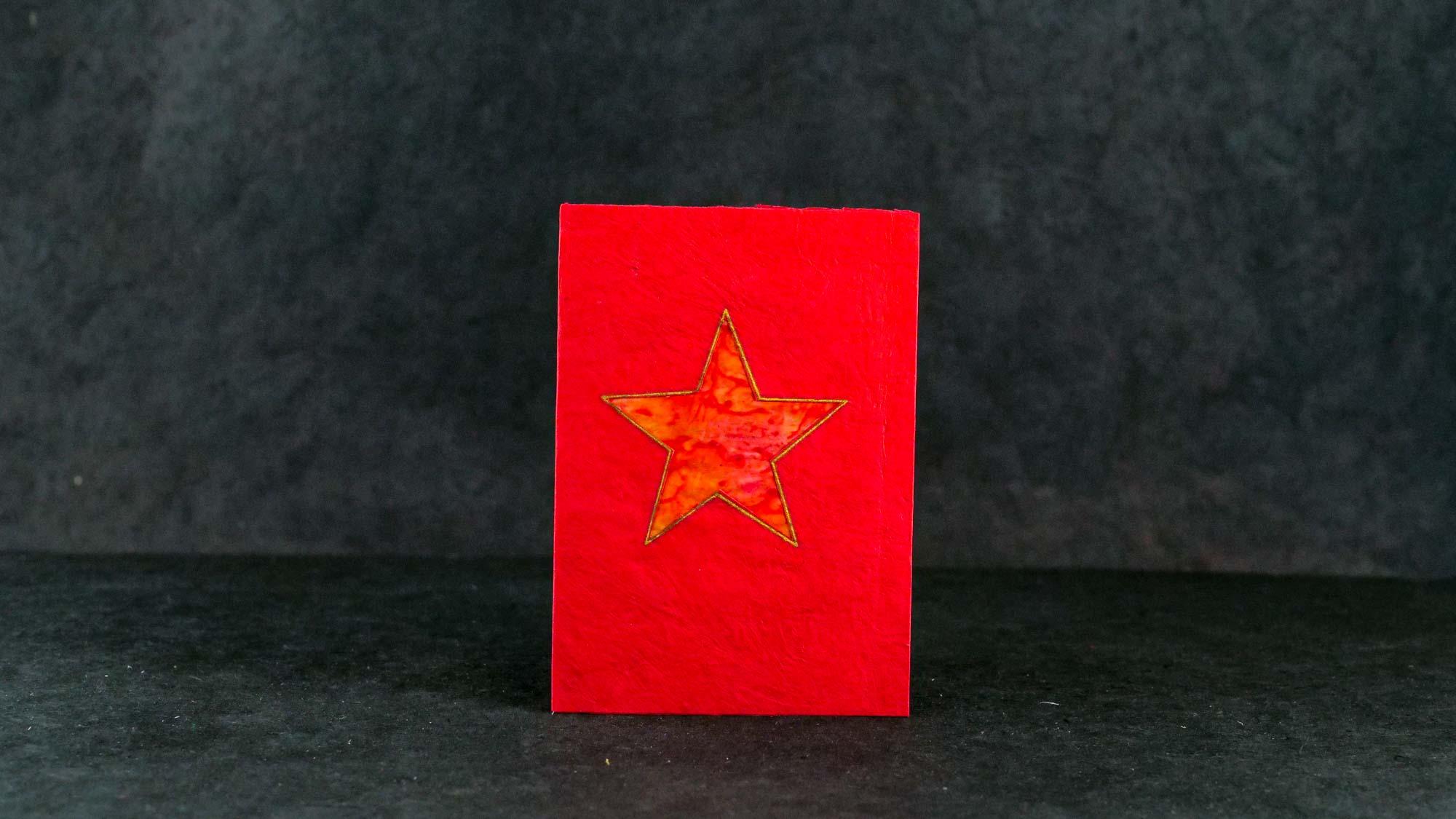 Briefkarte Batik 'Stern' Rot