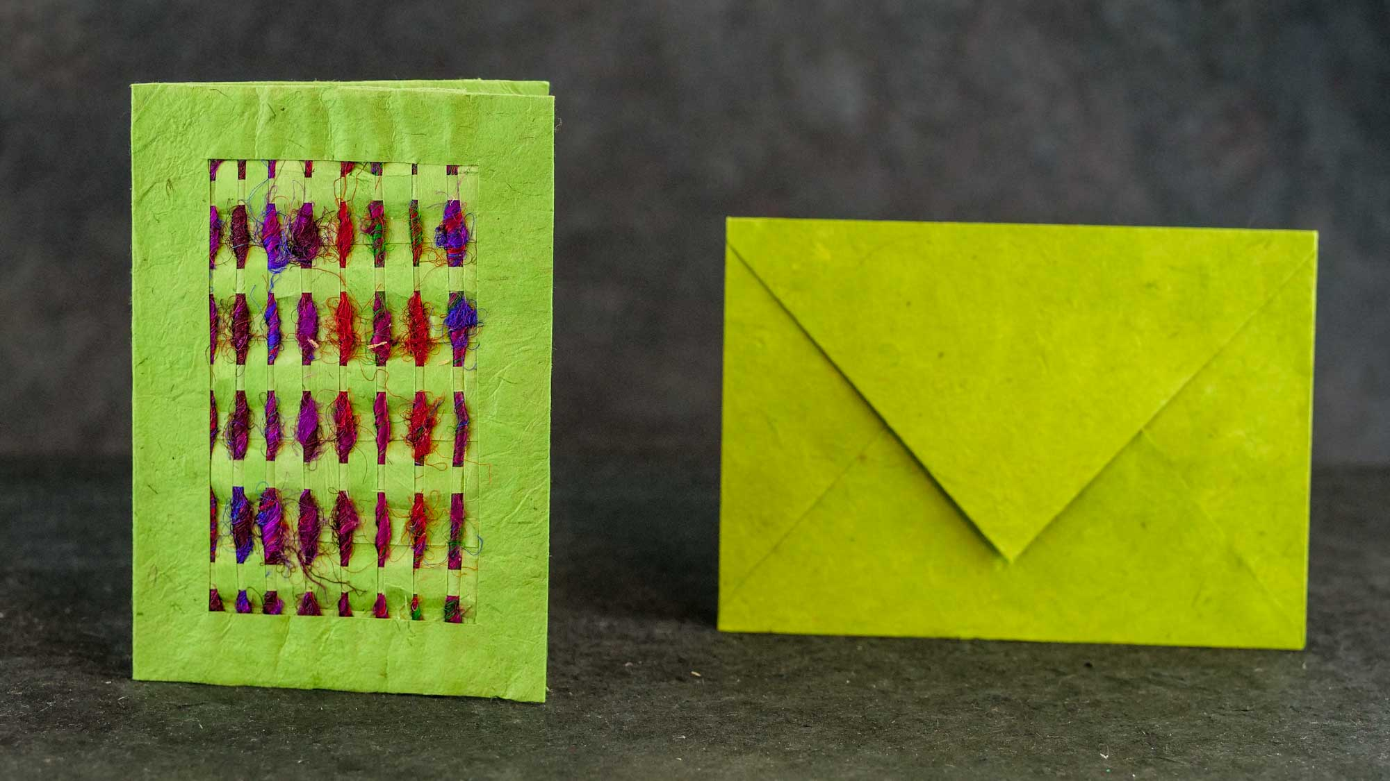 Briefkarte 'Silk' Hellgrün