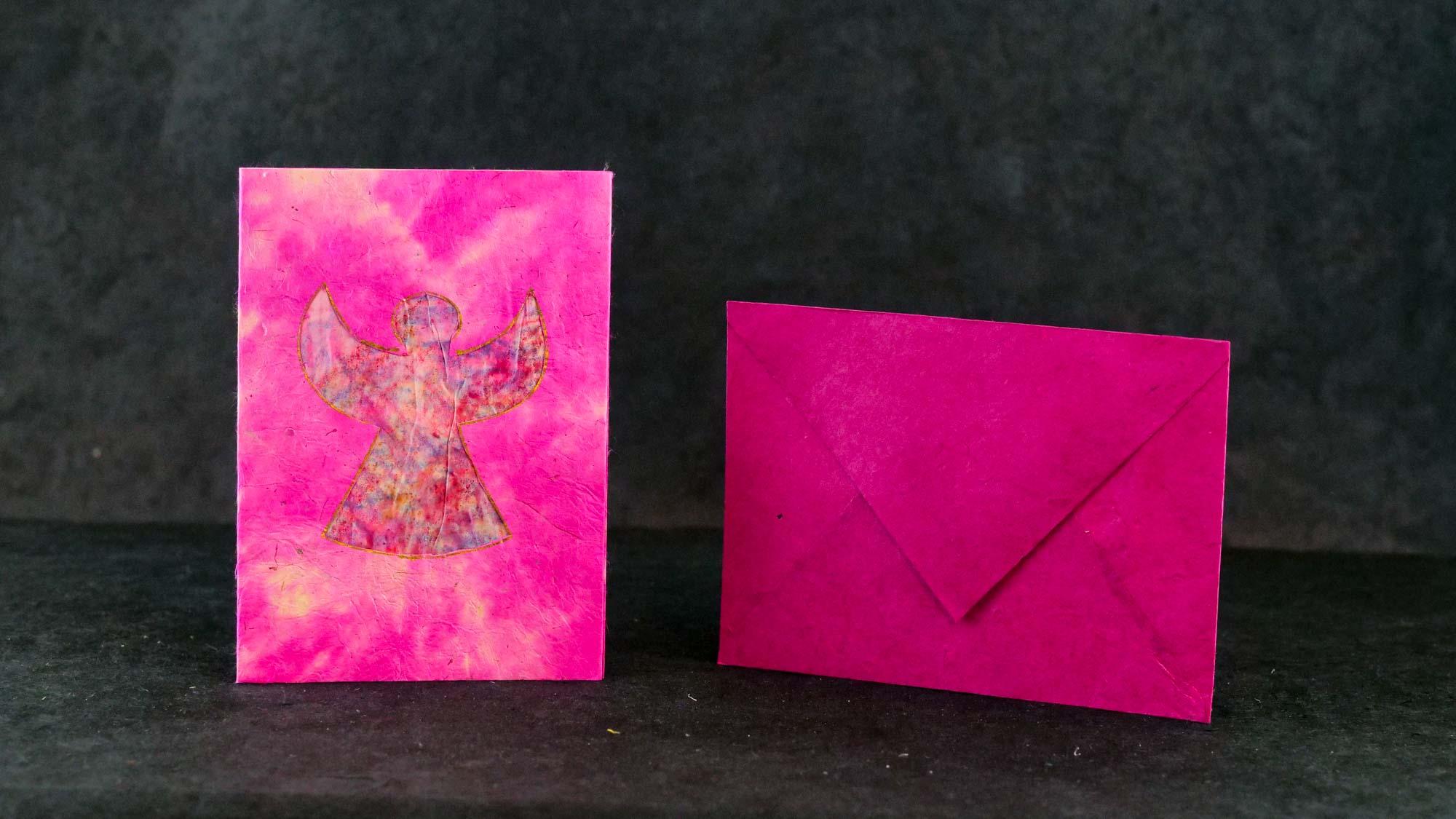 Briefkarte Batik 'Engel' Rosa